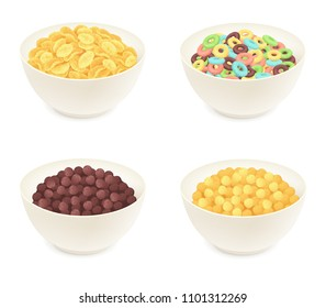 Different kinds of breakfast cereal. Cornflakes in a bowl isolated on white. Vector illustration