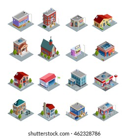 Different kinds of buildings isometric icons set with church stores and houses of different design on white background isolated vector illustration