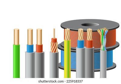 Different kinds of cables are on white background.