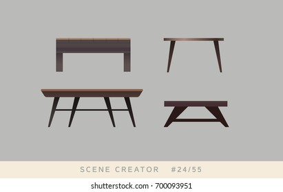 Different kinds of the coffee table. Isolated objects. Interior scene creator set.