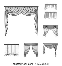 different types of curtains for windows window blinds different kinds of curtains monochrome icons in set collection for design curtains and lambrequins vector types window set collection stock vector