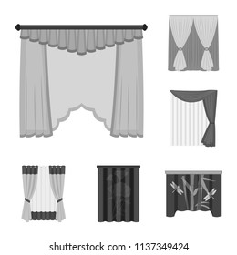 different types of curtains for windows different kinds of curtains monochrome icons in set collection for design curtains and lambrequins vector types window set collection stock
