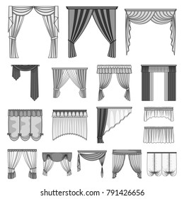 different types of curtains for windows occyc different kinds of curtains monochrome icons in set collection for design curtains and lambrequins vector types window set collection stock