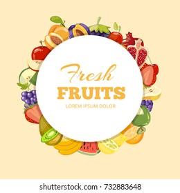 Different kinds of fruits vector background. Badge fresh fruits organic illustration