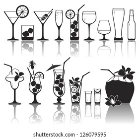 Different kinds of glasses with aperitifs, juice, cocktails, decorated by fruit, mint and colors