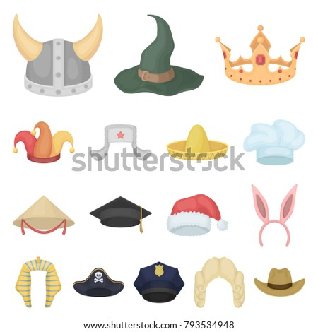578bc267a9209 Different kinds of hats cartoon icons in set collection for  design.Headdress vector symbol stock