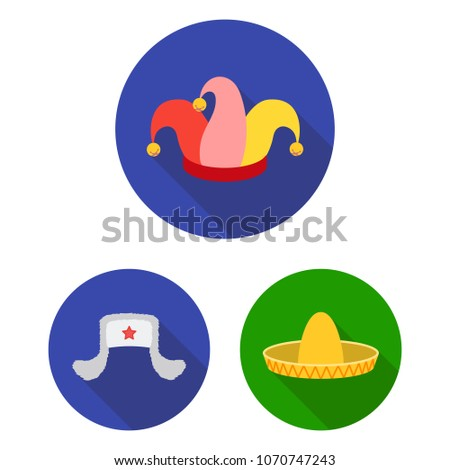 Different kinds of hats flat icons in set collection for design.Headdress  vector symbol stock 3f8318190f0e