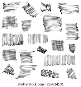 Different kinds of ink strokes. Set of ink hand drawn textures. Hatching drawn with pen. Abstract background. Vector design elements