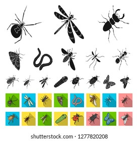 Different kinds of insects black,flat icons in set collection for design. Insect arthropod vector isometric symbol stock web illustration.