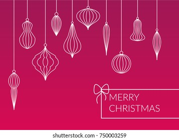 Different kinds lined baubles - balls hanging set on pink background. Simple design Merry Christmas postcard. Simple, modern company xmas card design.