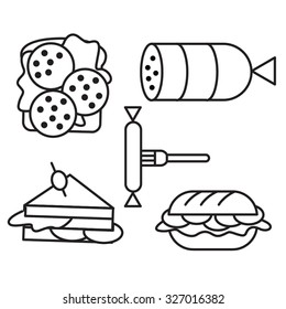 Different kinds of meat sandwiches line icons set