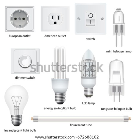 different kinds outlets lamps switches 450w 672688102 different kinds outlets lamps switches names stock vector (royalty