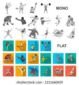 Different kinds of sports flat icons in set collection for design. Athlete, competitions vector symbol stock web illustration.