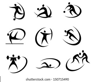Different kinds of sports symbols for competition and tournament design or idea of logo. Jpeg version also available in gallery