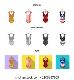 Different kinds of swimsuits. Swimsuits set collection icons in cartoon,flat,monochrome style vector symbol stock illustration web.