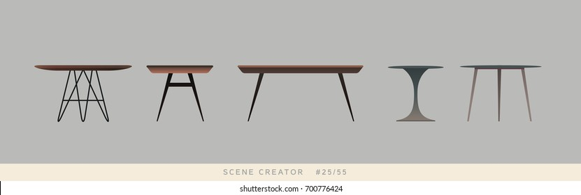 Different kinds of tables. Isolated vector objects. Scene creator set.