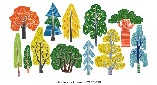 Different kinds of trees - hand drawn vector illustration in creative organic style. Isolated elements of nature on white background. Vector.