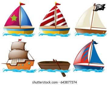 Different kinds of vessels illustration