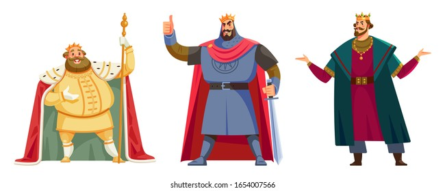 Different kings wearing crowns. Happy kings show sight thumbs up and good luck. Cartoon vector illustration isolated in white background. Kings - tall and short, slim and fat, young and old.