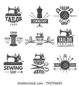 Different labels or logos set for tailor shop. Workshop emblem and badge atelier. Vector illustration