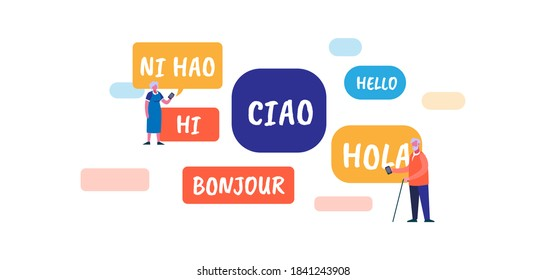 Different language. International red words in French blue English dialect global travel communication with knowledge spoken multilingualism learning friendship in native vector language.