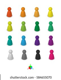 Different leisure game pawn figures, concept for diverse group of people. Cutout, isolated on white.