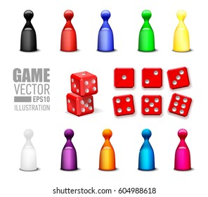Different leisure game pawn figures and game blocks dices in variety number. Vector illustration games icons set