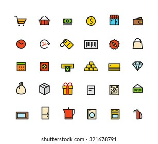 Different line style color icons set. Shopping and money