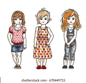 Different little girls cute children standing in stylish casual clothes. Vector diversity kids illustrations set.