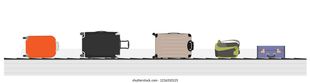 Different luggage bag on conveyor belt. Baggage claim at terminal airport travel bags vector background. Concept vacation holiday