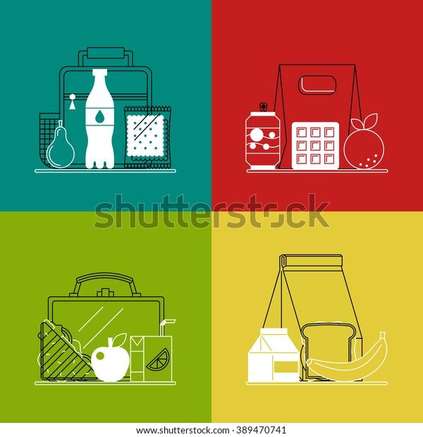 Different lunchboxes on colorful background. Trendy linear style. Icons and emblems related to lunch time, school and office food. Vector healthy and fast food concepts and logo design templates.