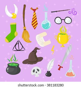 Different magic elements for witches in cartoon style. Vector illustration