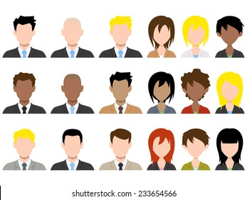 Different male and female avatar, vector illustration set collection