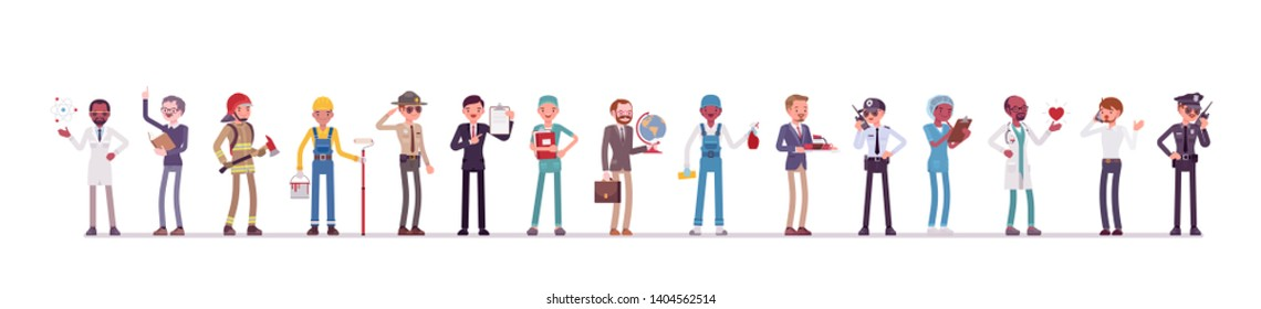 Different male professions and business. Working people, men in occupation standing together, employee union and career. Vector flat style cartoon illustration isolated, white background, full length