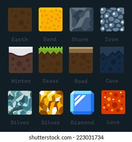 Different materials and textures for the game. Vector flat tile set. Ground, sand, stone, gold, silver, lava, metal, iron, snow