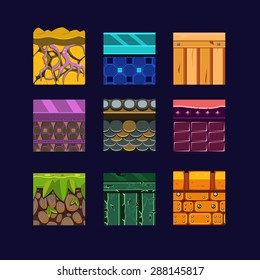 Different materials and textures for the game. Vector flat set