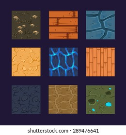 Different materials and textures for the game. Vector flat set stone, wood, earth