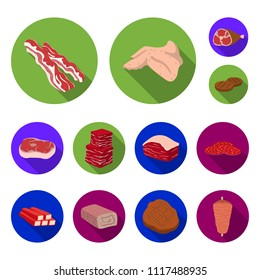 Different meat flat icons in set collection for design. Meat product vector symbol stock web illustration.
