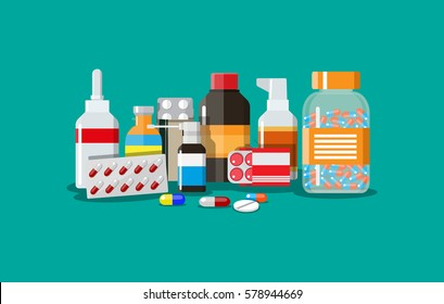 Different medical pills and bottles, healthcare and shopping, pharmacy, drug store. Vector illustration in flat style.
