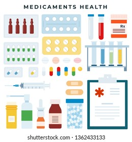 Different medical pills and bottles, jars, syringe, test tube, spray. Various forms of medicaments. Healthcare, pharmacy, drug store. Vector illustration in flat style.