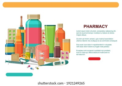 Different medical pills, plaster, thermometer, syringe and bottles. Pharmacy web banner template or landing page.