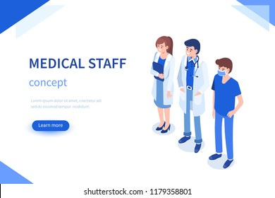 Different medical staff characters. Can use for web banner, infographics, hero images. Flat isometric vector illustration.