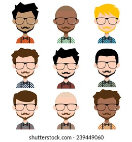 Different men hipster avatar, vector illustration set collection