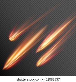 Different meteors, comets and fireballs. EPS 10 vector file included