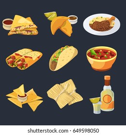 Different mexican foods in cartoon style. Traditional cuisine. Chicken, tacos and tequila vector illustrations