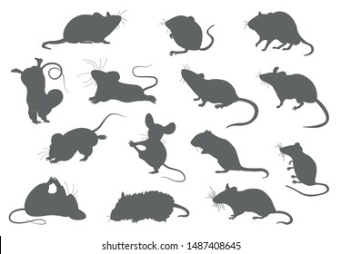 Different mice. Mouse yoga poses and exercises. Cute cartoon clipart set. Vector illustration