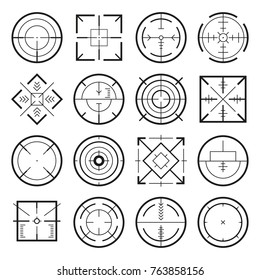 Different military targets for strategy games. Vector monochrome pictures. Collection of aim target crosshair illustration