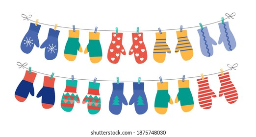 Different mittens hanging on the rope, set, vector illustration.