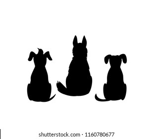 different mixed breed dogs backside view silhouettes isolated vector graphic