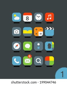 Different mobile application icons set with rounded corners. Design elements